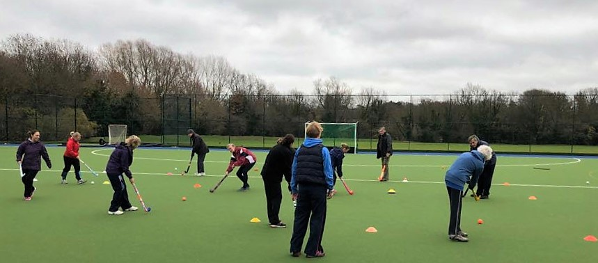 Keeping active through Walking Hockey. Sessions include drills and skills as well as being a great social outlet.