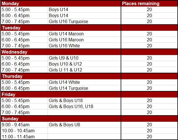 Epsom HC Junior Summer Training Timetable