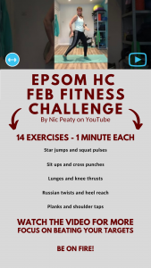 Epsom Hockey Club Fitness Challenge set by personal trainer Nicola Peaty. Video available on YouTube. Search Nicola Peaty Fitness.